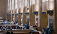 Colors and typography serve a dual function in that they brand the building as an Amtrak facility.