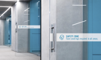 WORKPLACES. Within individual office spaces, companies can apply graphics to doors and walls to remind employees of new protocols, and to help teams demonstrate their respect and care for each other's well-being.