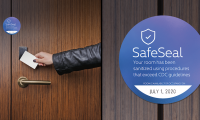 HOTELS. Where spaces are shared and used in rotation by multiple people, such as hotel rooms, specific visual cues similar to safe seals on packaging can assure guests that their space has been cleaned and is now ready for their own personal use.