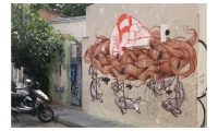 Street Art (Athens): The birthplace of democracy has a lively history of political protest. Athens is a messy, layered melange of random tagging, occasional murals and posted political posters.