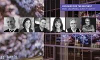 2017 Branded Environments Speakers, from left to right: Eric Heiman (Volume, Inc), Jennifer Bressler (Hunt Design), Marcos Terenzio (Shikatani Lacroix Design), Emily Webster (ESI Design), Brian Collins (COLLINS), Cameron Smith (Infinite Scale).