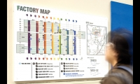 Maps at about 60 locations throughout the factory help employees and visitors pinpoint destinations through a matrix of numbered and lettered bays.