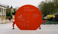 So they designed bold, sculptural red circles as the basis of the site's communication system.