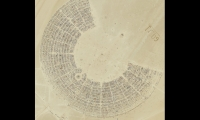 Black Rock City covers 5 square miles of desert playa, a radial grid criss-crossed by streets, avenues, and themed camps. This photo was taken by GeoEye-1 satellite from an altitude of 423 miles (681 kilometers). (Photo: GeoEye)