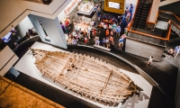 """The """"La Belle"""" Gallery houses the once sunken hull of the expedition ship."""