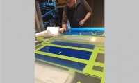 The complicated stenciling process takes as long as the carving and etching.
