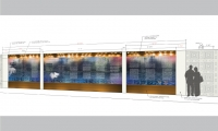 An elevation view of the planned donor recognition wall expansion, where panels will be added to each side to become a triptych.