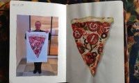 I painted a slice of pizza in gouache in my journal, and decided to use it as final art.