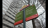Pedestrian signage was the first phase of a comprehensive wayfinding system for Charlotte, North Carolina.