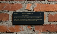 Small 3- by 6-in. plaques tell additional stories about historic events related to innovation that happened in or near San Francisco.