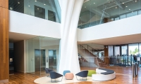 When guests enter the lobby, they are greeted by a two-story high sculpture of milk.