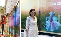 Debbie Feldman, President and CEO of Dayton Children's, visiting the installation. Collaboration with the Foundation was a key part of the design process.