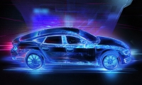 A 36' wide backdrop and a full-sized model car transformed with projected overlays for Delphi Technologies.