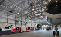 At the Delta Airlines Flight Museum (Atlanta), Lorenc+Yoo created moveable exhibits using luggage carts.