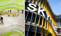 Left: Friday's intricate pattern work at Forum Mittelrhein, a large-scale cultural and retail shopping project in Koblenz, Germany. Right: Bold letterforms roll seamlessly across Frankfurt Skyline Plaza's colorful organic facade.