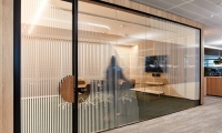 Meeting room glazing activated with graphics.