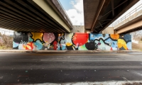"""Float,"" a mural commissioned by the City of Atlanta in 2012, enlivens a highway underpass."