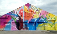 HENSE's commissioned pieces are bright pops of color in the urban landscape. This 2013 mural was commissioned by Venture Richmond, Richmond, Va.