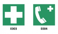 "Fig. 16. ISO 7010 symbols E003 ""First Aid"" and E004 ""Emergency Phone"""