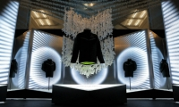 Nike's New York flagship store celebrated the 2014 Super Bowl with sound, animation, and sculptural fixtures based on design details of their football gear.