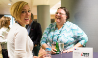 Sharing bubbles and a laugh with SEGD Director of Content Kate Heller at the President's reception circa 2016