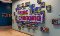 "The the ""Game Changing"" wall was made from 1,312 Rubik's cubes."
