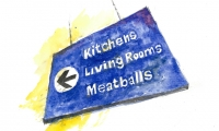 Wayfinding at IKEA: Which way to the meatballs? (image: watercolor painting of Ikea sign by Wayne Hunt)