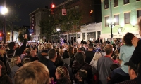 Crowds gather at the inaugural parade