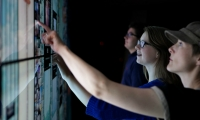 The Skypad Interactive Wall is one of several new digital enhancements to the Seattle Space Needle.