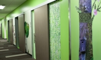 The use of artwork reinforces Seattle Children's mission of compassionate care.