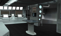 An artistic rendering of the science area in the exhibition's simulated research vessel.