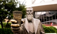 Statue of John Pemberton, whose recipe for a patent medicine became Cola-Cola.