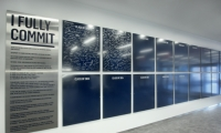 Graphics throughout the new building promote school values.