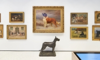 The AKC's art collection is the second-largest collection of art featuring dogs as the subject (the Queen of England claims the largest) with over 1,700 works of art. (image: sculpture of dog in front of paintings)