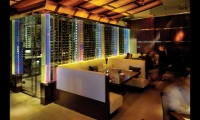 Artwork in Architectural Glass (Miami) used Jockimo's DichroLam laminated glass sheet to frame out the wine room at Luma Restaurant in Winter Park, Fla.