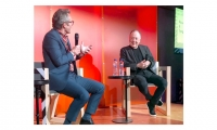 Lance Wyman (right) in conversation with Bruno Maag on April 6th for the Offset conference in Dublin.