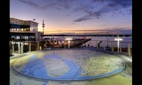 Public art is a major platemaking component at National Harbor, whose main thoroughfare was modeled after Barcelona's Las Ramblas. A 1,618-sq.-ft. terrazzo map of Chesapeake Bay history and lore created by Steven Weitzman is one of 45 public art works.