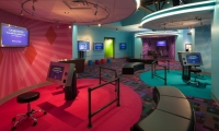 Two interactive Laugh Battle stations at the National Comedy Center