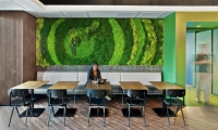 This lush green moss mural is an artist's depiction of a portion of LinkedIn's branding.