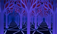 The centerpiece of the exhibit is a 1,800-square-foot mirror maze built on a system of equilateral triangles that combines the geometric patterning characteristics of repetition, symmetry and tessellation.