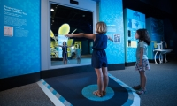The Vitruvian Man unit went from an LED display wall to a front projection and display cases were designed and built to stand side-by-side or back-to-back