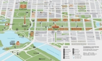 New maps created for the National Mall depict the landscape in a birds-eye perspective that emphasizes major destinations.