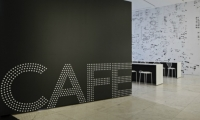 The bold typographic identifier for the new cafe consists of dots that echo the Starlight sculpture.
