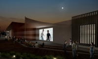 Tenants will gather around a barbecue pit and watch movies projected onto an outdoor screen in an amphitheater.