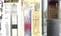 This is a conceptual drawing (and final photograph) for a display in the Colorado School of Mines for the school for Petroleum Engineering.