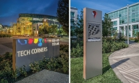 In the wayfinding system, Media Objectives at Valerio Dewalt Train made playful use of Google's iconic brand assets.