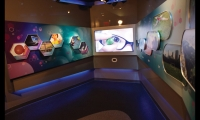 A multimedia presentation on nanotechnology teaches visitors about the concept of a billionth, then allows them to explore current and future applications of the technology in various industries.