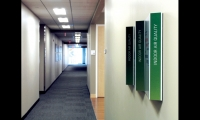 For National Grid's LEED-Platinum offices in Waltham, Mass., Sasaki Associates designed a series of graphic interventions that teach staff, visitors, and customers practical, cost-effective energy-saving strategies.