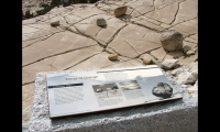 Waysides at Olmstead Point in Yosemite National Park feature a porcelain enamel interpretive panel in a Corten steel frame, mounted on granite.