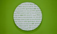 "Detail of a ""bubble"" graphic on the green fire stairs."